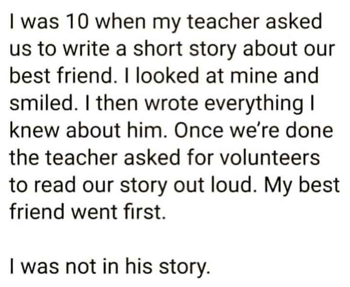 """my thoughts"" - I was 10 when my teacher asked us to write a short story about our best friend . I looked at mine and smiled . I then wrote everything 