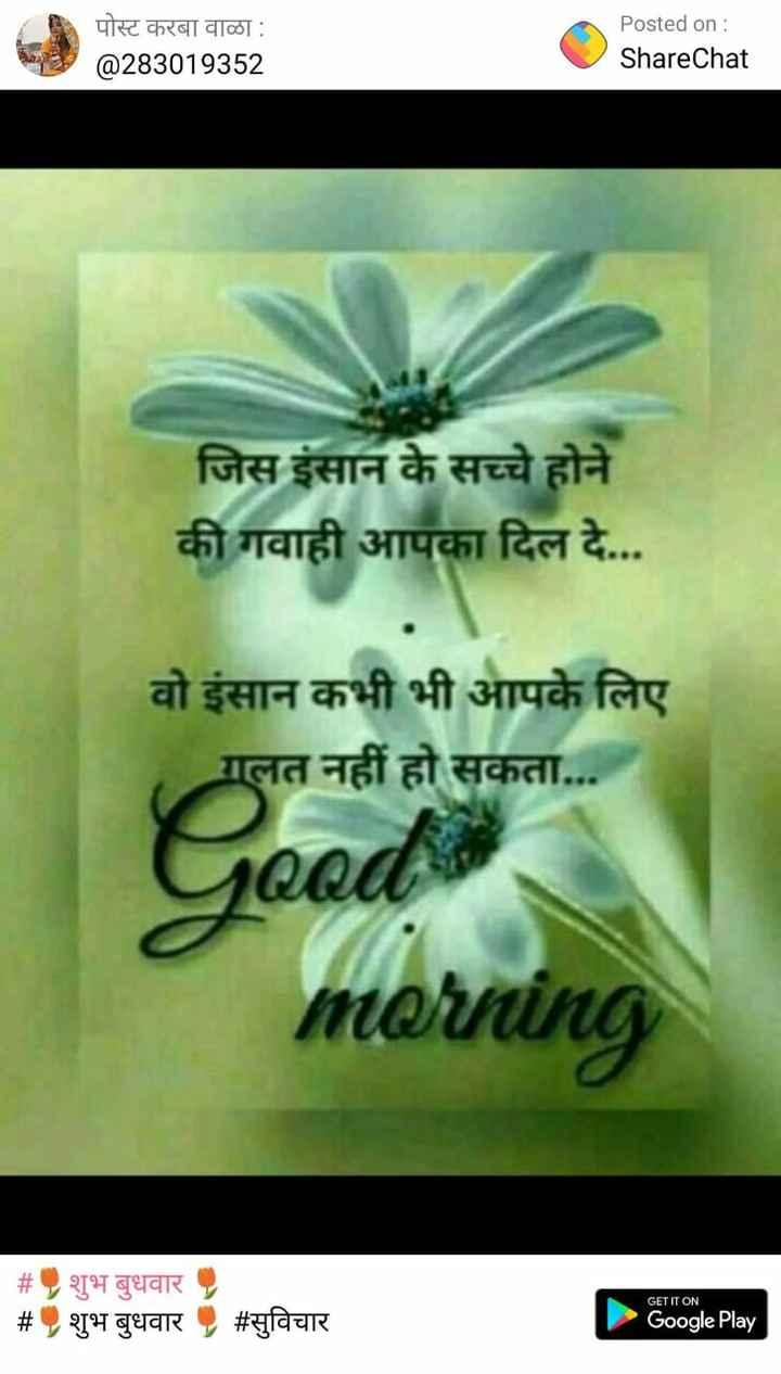 अंगूठी का वीडियो चैलेंज💍 - पोस्ट करबा वाळा : @ 283019352 Posted on : ShareChat जिस इंसान के सच्चे होने की गवाही आपका दिल दे . . . प्राप वो इंसान कभी भी आपके लिए गलत नहीं हो सकता . . . Good morning _ _ # शुभ बुधवार # , शुभ बुधवार , # सुविचार GET IT ON Google Play - ShareChat