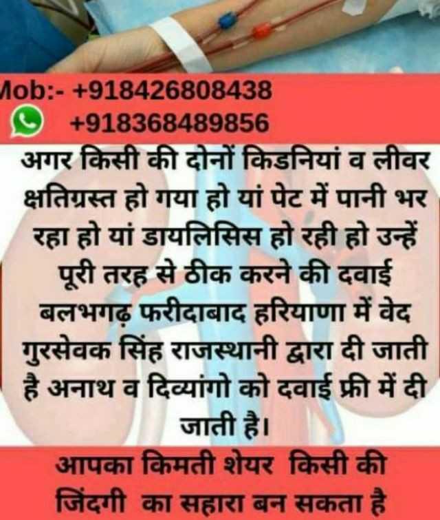 🦈 अंतर्राष्ट्रीय व्हेल शार्क दिवस - Mob : - + 918426808438 O + 918368489856 अगर किसी की दोनों किडनियां व लीवर क्षतिग्रस्त हो गया हो यां पेट में पानी भर रहा हो यां डायलिसिस हो रही हो उन्हें पूरी तरह से ठीक करने की दवाई बलभगढ़ फरीदाबाद हरियाणा में वेद गुरसेवक सिंह राजस्थानी द्वारा दी जाती है अनाथ व दिव्यांगो को दवाई फ्री में दी जाती है । आपका किमती शेयर किसी की जिंदगी का सहारा बन सकता है । - ShareChat
