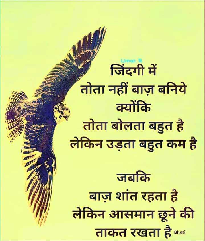 👌 अच्छी सोच👍 - Umar . जिंदगी में तोता नहीं बाज़ बनिये क्योंकि तोता बोलता बहुत है लेकिन उड़ता बहुत कम है जबकि बाज़ शांत रहता है लेकिन आसमान छूने की ताकत रखता है Bhati - ShareChat