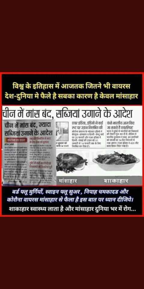 😱अनोखी तारीख: 02022020 - ' विश्व के इतिहास में आजतक जितने भी वायरस । देश - दुनिया मे फैले है सबका कारण है केवल मांसाहार चीन में मांस बंद , सब्जियां उगाने के आदेश चीन में मांस बंद , ज्यादा सब्जियां उगाने के आदेश एयर इंडिया , इंडिगो ने कई से भारतीय आज किए स्ट पर उड़ान निलंबित की जा सकते है एयरलिफ्ट कोरियामा मासानिका गलुरू - हादिल्ली - गया की वाभिमetitime 10mmarrडायरे भारत gion मनगरिया दिप - सपाहीन . कोशी जमिनी अगरी214वरीmahe समाग Ramamtte मितिकादियो । बाल विकार तयार । ब . PETIRNOSISeast Hared eravate montreamrit नितेशरीवेको मांसाहार शाकाहार बर्ड फ्लू मुर्गियों , स्वाइन फ्लू सुअर , निपाह चमकादड और कोरौना वायरस मांसाहार से फैला है इस बात पर ध्यान दीजिये । शाकाहार स्वास्थ्य लाता है और मांसाहार दुनिया भर में रोग . . . - ShareChat