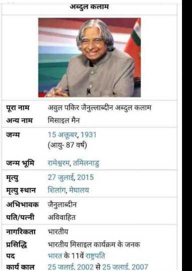 🎂 अब्दुल कलाम जयंती - अब्दुल कलाम पूरा नाम अवुल पकिर जैनुल्लाब्दीन अब्दुल कलाम अन्य नाम मिसाइल मैन जन्म 15 अक्तूबर , 1931 ( आयु - 87 वर्ष ) जन्म भूमि रामेश्वरम , तमिलनाडु मृत्यु 27 जुलाई , 2015 मृत्यु स्थान शिलांग , मेघालय अभिभावक जैनुलाब्दीन पति / पत्नी अविवाहित नागरिकता भारतीय प्रसिद्धि भारतीय मिसाइल कार्यक्रम के जनक पद भारत के 11वें राष्ट्रपति | कार्य काल 25 जलाई , 2002 से 25 जलाई , 2007 - ShareChat