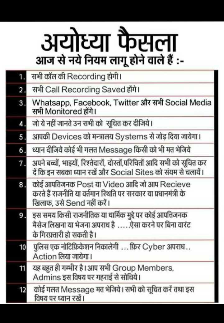 🚩 अयोध्या न्यूज़ - अयोध्या फैसला आज से नये नियम लागू होने वाले हैं : 1 . सभी कॉल की Recording होगी । 2 . सभी Call Recording Saved होंगे । 3 . Whatsapp , Facebook , Twitter 3 of Social Media सभी Monitored होंगे । 4 . जो ये नहीं जानते उन सभी को सूचित कर दीजिये । 5 . आपकी Devices को मन्त्रालय Systems से जोड़ दिया जायेगा । 6 . ध्यान दीजिये कोई भी गलत Message किसी को भी मत भेजिये 7 . अपने बच्चों , भाइयों , रिश्तेदारों , दोस्तों , परिचितों आदि सभी को सूचित कर दें कि इन सबका ध्यान रखें और Social Sites को संयम से चलायें । 8 . कोई आपत्तिजनक Post या Video आदि जो आप Recieve करते हैं राजनीति या वर्तमान स्थिति पर सरकार या प्रधानमंत्री के खिलाफ , उसे Send नहीं करें । 9 . इस समय किसी राजनीतिक या धार्मिक मुद्दे पर कोई आपत्तिजनक | मैसेज लिखना या भेजना अपराध है . . . . . ऐसा करने पर बिना वारंट के गिरफ़्तारी हो सकती है । 10 पुलिस एक नोटिफ़िकेशन निकालेगी . . . फ़िर Cyber अपराध . . | Action लिया जायेगा । 11 यह बहुत ही गम्भीर है । आप सभी Group Members , Admins इस विषय पर गहराई से सोचिये । 12 कोई गलत Message मत भेजिये । सभी को सूचित करें तथा इस विषय पर ध्यान रखें । - ShareChat