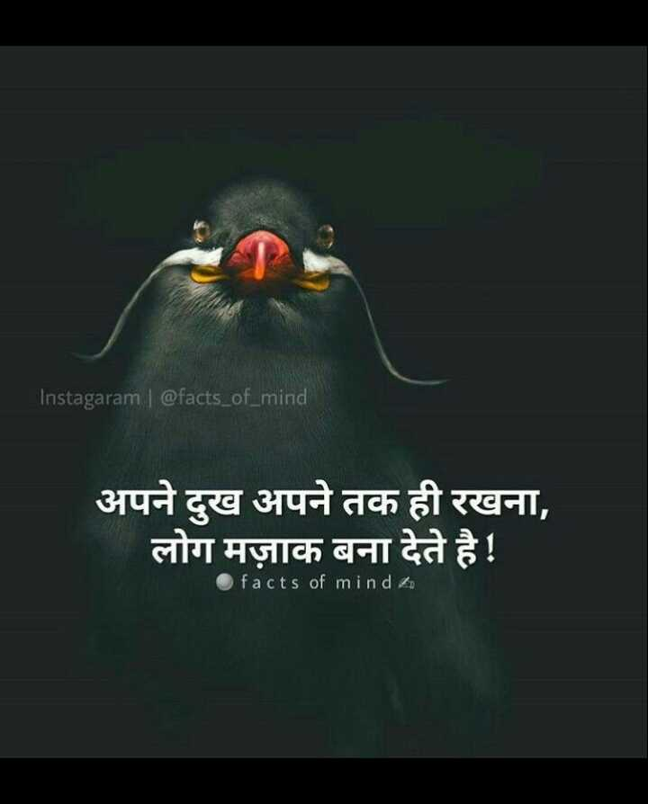 🚧 अलीगढ़ के धुरंधर - Instagaram | @ facts _ of _ mind अपने दुख अपने तक ही रखना , लोग मज़ाक बना देते है ! facts of mind to - ShareChat