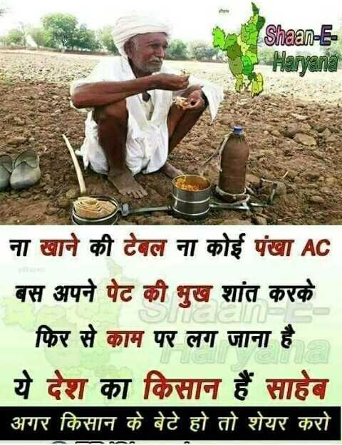 📣 असलियत अर जानकारी - Shaan - E Haryana ना खाने की टेबल ना कोई पंखा AC बस अपने पेट की भूख शांत करके | फिर से काम पर लग जाना है ये देश का किसान हैं साहेब | अगर किसान के बेटे हो तो शेयर करो - ShareChat