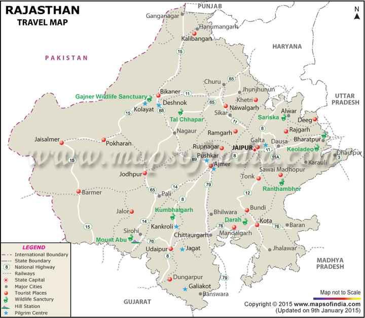 📖 आगरा गाइड - z RAJASTHAN TRAVEL MAP RAJASTHAN PUNJAB Ganganagar Hanumangarh Kalibangan HARYANA PAKISTAN Jaisalmer Churu 65 Gajner Wildlife Sanctuary Bikaner 11 Jhunjhunun UTTAR Deshnok 65 Khetri j PRADESH 15 Kolayat 88 Nawalgarh - Sikar Alwari Tal Chhapar Sariska Deeg ? Nagaur Ramgarh 8 Rajgarh Pokharan Galta Dausa Bharatpur Rupnagar JAIPUR 11 Keoladeo BePushkar # 11 C h aumpur Ajmer Karauli Sawai Madhopur Jodhpur Tonko Barmer 12 Ranthambhpr Pali ரம்யாups போம் 79 14 Jalore kumbhalgarh 76 Sirohi Mount Abu N * Bundi Bhilwara Darah Kota Baran Mandalgarh Jhalawar Kankroli 78 Chittaurgarh Udaipur Jagat MADHYA PRADESH LEGEND - . - International Boundary - - - State Boundary 8 National Highway Railways O State Capital • Major Cities Tourist Places Wildlife Sanctury Hill Station * Pilgrim Centre . Dungarpur 79 Galiakot Banswara Map not to Scale GUJARAT Copyright © 2015 www . mapsofindia . com ( Updated on 9th January 2015 ) - ShareChat