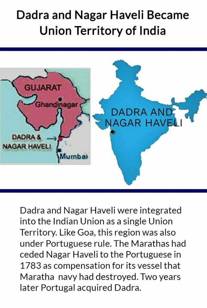 आज का इतिहास - Dadra and Nagar Haveli Became Union Territory of India GUJARAT Ghandinagar DADRA AND NAGAR HAVELI DADRA & → NAGAR HAVELI Mumbai Dadra and Nagar Haveli were integrated into the Indian Union as a single Union Territory . Like Goa , this region was also under Portuguese rule . The Marathas had ceded Nagar Haveli to the Portuguese in 1783 as compensation for its vessel that Maratha navy had destroyed . Two years later Portugal acquired Dadra . - ShareChat