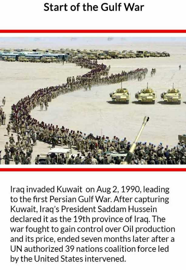 आज का इतिहास - Start of the Gulf War Iraq invaded Kuwait on Aug 2 , 1990 , leading to the first Persian Gulf War . After capturing Kuwait , Iraq ' s President Saddam Hussein declared it as the 19th province of Iraq . The war fought to gain control over Oil production and its price , ended seven months later after a UN authorized 39 nations coalition force led by the United States intervened . - ShareChat