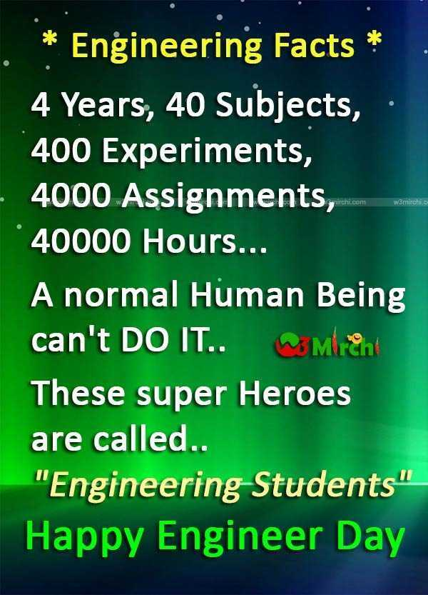 😎 इंजीनियर्स डे - STT WAITECTS * Engineering Facts * 4 Years , 40 Subjects , 400 Experiments , 4000 Assignments , * 40000 Hours . . . A normal Human Being can ' t DO IT . . Mich These super Heroes are called . . Engineering Students Happy Engineer Day - ShareChat