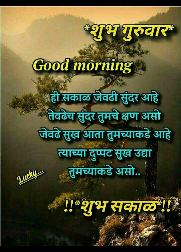 💐इतर शुभेच्छा - शुभ गुरुवार Good morning ही सकाळ जेवढी सुंदर आहे तेवढेच सुंदर तुमचे क्षण असो जेवढे सुख आता तुमच्याकडे आहे त्याच्या दुप्पट सुख उद्या तुमच्याकडे असो . . Lucky . . . ! ! शुभ सकाळ ! ! - ShareChat