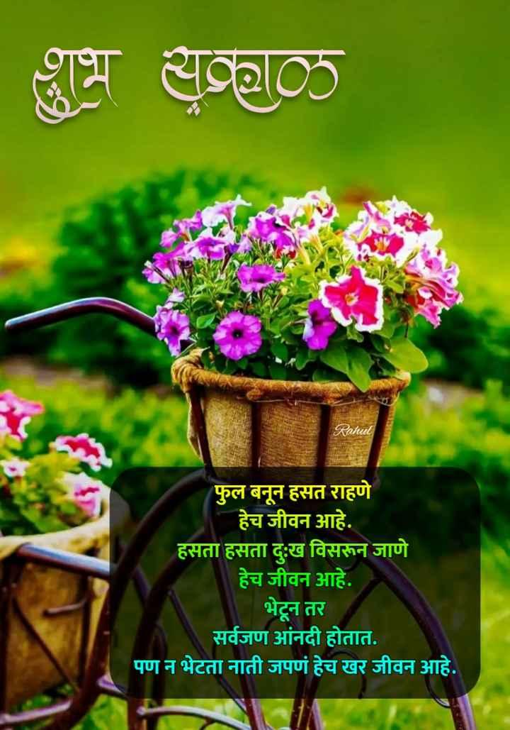 💐इतर शुभेच्छा - शुभ सकाळ Rahul फुल बनून हसत राहणे हेच जीवन आहे . हसता हसता दुःख विसरून जाणे हेच जीवन आहे . भेटून तर सर्वजण आंनदी होतात . पण न भेटता नाती जपणं हेच खर जीवन आहे . - ShareChat