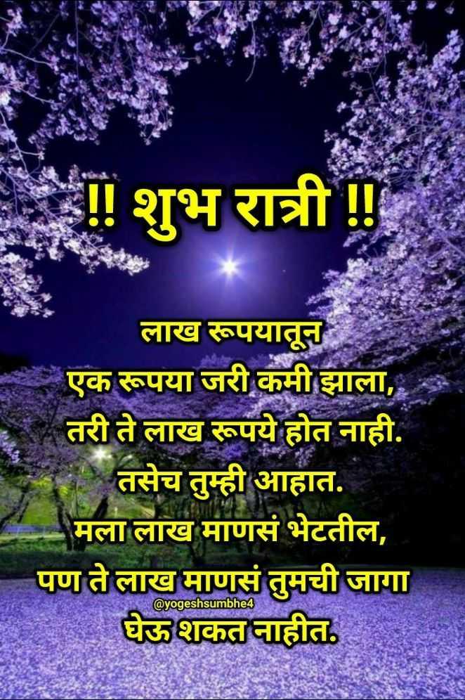 💐इतर शुभेच्छा - शुभ रात्री ! ! लाख रूपयातून एक रूपया जरी कमी झाला , , तरी ते लाख रूपये होत नाही . * तसेच तुम्ही आहात . मला लाख माणसं भेटतील , पण ते लाख माणसं तुमची जागा घेऊ शकत नाहीत . @ yogeshsumbhe4 NAM - ShareChat