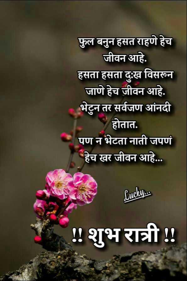 💐इतर शुभेच्छा - फुल बनुन हसत राहणे हेच जीवन आहे . हसता हसता दुःख विसरून जाणे हेच जीवन आहे . भेटुन तर सर्वजण आंनदी होतात . पण न भेटता नाती जपणं हेच खर जीवन आहे . . . Lucky . . . ! ! शुभ रात्री ! ! - ShareChat