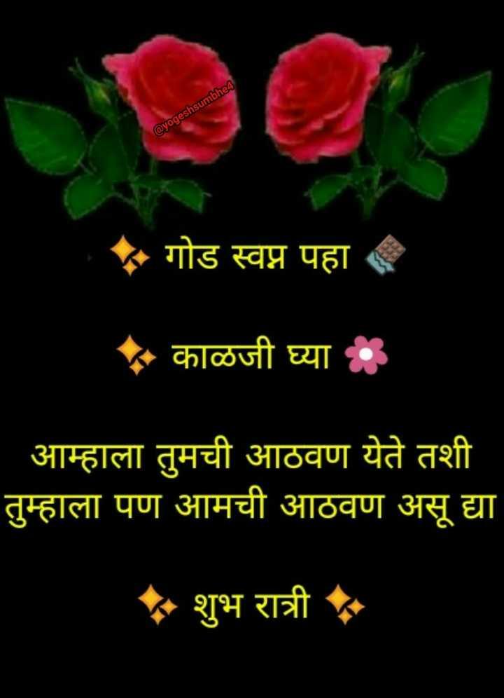 💐इतर शुभेच्छा - @ yogeshsumbhe4 गोड स्वप्न पहा * काळजी घ्या : आम्हाला तुमची आठवण येते तशी तुम्हाला पण आमची आठवण असू द्या * शुभ रात्री - ShareChat