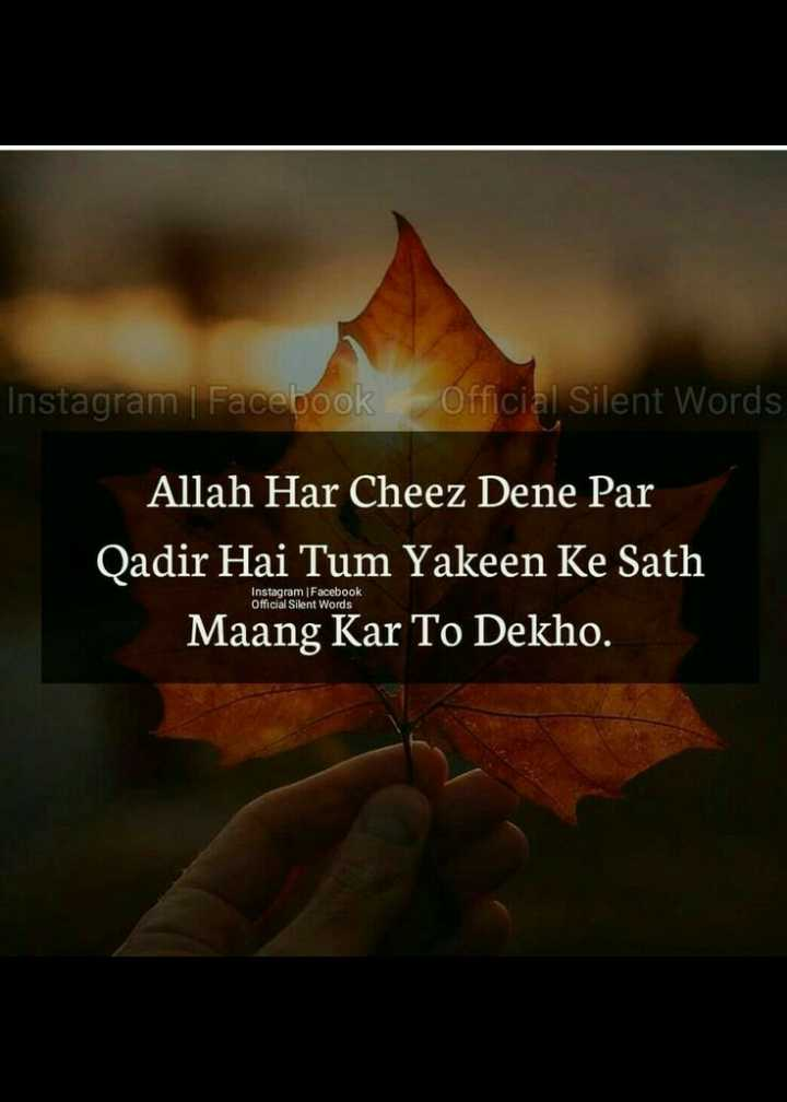 🤲 इबादत - Instagram | Facebook Official Silent Words Allah Har Cheez Dene Par Qadir Hai Tum Yakeen Ke Sath Maang Kar To Dekho . Instagram Facebook Official Silent Words - ShareChat