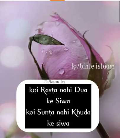 🤲 इबादत - To / binte istaam Hofizo writes koi Rasta nahi Dua ke Siwa koi Sunta nahi Khuda ke siwa - ShareChat