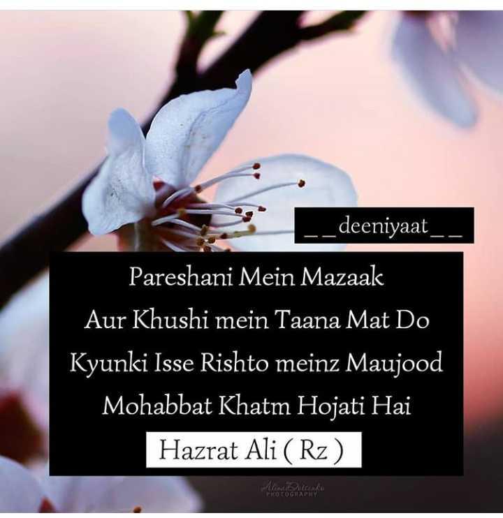 🤲 इबादत - _ _ deeniyaat _ _ Pareshani Mein Mazaak Aur Khushi mein Taana Mat Do Kyunki Isse Rishto meinz Maujood Mohabbat Khatm Hojati Hai Hazrat Ali ( Rz ) Mina Docenko PHOTOGRAPHY - ShareChat