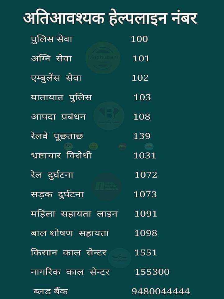 📝 एग्जाम प्रिपरेशन - अतिआवश्यक हेल्पलाइन नंबर पुलिस सेवा 100 अग्नि सेवा 101 एम्बुलेंस सेवा 102 यातायात पुलिस 103 आपदा प्रबंधन 108 139 1031 रेलवे पूछताछ भ्रष्टाचार विरोधी रेल दुर्घटना सड़क दुर्घटना 1072 1073 महिला सहायता लाइन 1091 बाल शोषण सहायता । 1098 किसान काल सेन्टर 1551 नागरिक काल सेन्टर 155300 ब्लड बैंक 9480044444 - ShareChat