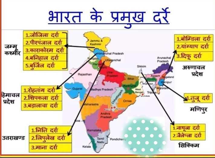 📝 एग्जाम प्रिपरेशन - भारत के प्रमख दर्रे जम्म कश्मीर 1 . जोजिला दर्रा 2पीरपंजाल दर्रा 3 . काराकोरम दर्रा 4 . बनिहाल दर्रा 5 . बुर्जिल दर्रा 1 . बोम्डिला दर्रा 2 . यांग्याप दर्रा ' 3 . दिफू दर्रा richal Pradesh unachal Arunachal Pradesh अरुणाचल प्रदेश Rajasthan Aasam Galand ya Pradesh 1 . रोहतांग दर्रा हिमाचल 2शिपकला दर्रा प्रदेश 3 . बड़ालाचा दर्रा 1 . तुजू दर्रा मणिपुर Pradesh उत्तराखण्ड 1 . निति दर्रा 2 . लिपुलेख दर्रा 3 . माना दर्रा i . नाथूला दर्रा 2 . जैलेप्ला दर्रा सिक्किम - ShareChat