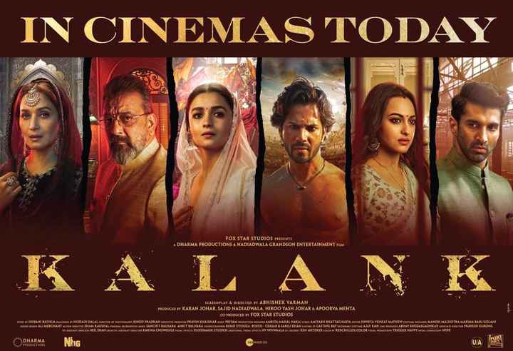 🎞 कलंक - IN CINEMAS TODAY FOX STAR STUDIOS PRESENTS A DHARMA PRODUCTIONS & NADIADWALA GRANDSON ENTERTAINMENT FILM K A L A N K SCREENPLAY & DIRECTED BY ABHISHEK VARMAN PRODUCED BY KARAN JOHAR , SAJID NADIADWALA , HIROO YASH JOHAR & APOORVA MEHTA CO - PRODUCED BY FOX STAR STUDIOS STORY BY SHIBANI BATHUA DIALOGUES Y HUSSAIN DALAL SECTOR OF PHOTOGRY BINOD PRADHAN BLICUTIVE PRODUCE PRAVIN KHAIRNAR MUSIC PRITAM PRODUCTION DESIGNER AMRITA MAHAL NAKAI YRICA AMITABH BHATTACHARYA CONTOR SHWETA VENKAT MATHEW COSTUME DELICES MANISH MALHOTRA MAXIMA BASU GOLANI SOUND SIGNALI MERCHANT ACTION DIRECTOR SHAM KAUSHAL ORIGINAL BACKGROUND MUSKO SANCHIT BALHARA ANKIT BALHARA CHORIOCERIES REMODSOUZA BOSCO CEASAR & SAROJ KHAN CASTING CASTING BAY CONDARY COSTUME AJAY KMR LINE PRODUCU ABHAY BHEDASGAONKAR ANOCHE DE CIOR PRAVESH GURUNG IST ALLSTART DIRECTOR NEIL SHAH CREATIVE ASUSTANT DIRECTOR KARINA CHOWGULE VISUAL BRES FLUIDMASK STUDIOS ADDITIONAL VISUALITET NY VFXWAALA DI COLORIT KEN METZKER COLOR ET REDCHILLIES . COLOR VIURL PROMOTIONS TRIGGER HAPPY MEDIA CONSULTANT HYPE DHARMA PRODUCTIONS Ning ZEEMUSIC CO - ShareChat