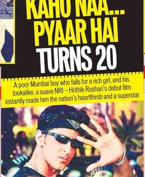 😍कहो न प्यार है के 20 साल - KAHU NAA . . . PYAAR HAI TURNS 20 A poor Mumbai boy who falls for a rich girl , and his lookalike , a suave NRI - Hrithik Roshan ' s debut film instantly made him the nation ' s heartthrob and a superstar - ShareChat