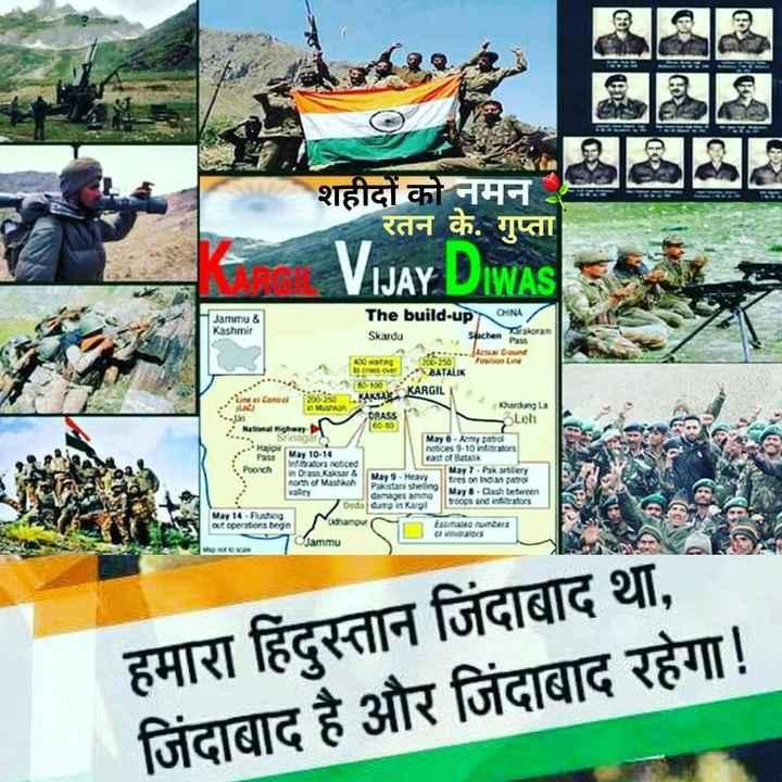 🇮🇳 कारगिल विजय दिवस - शहीदों को नमन रतन के . गुप्ता E VIJAY DIWAS Jammu & Kashmir The build - up CHINA Skardu watne 4 sontv Suchen Pass Tagran = = = = = 15 BATALK 100YARGIL KAKAK KARGIL Kandunga ORACS Leh । May 6 . Army patrof 9 - 12rf srxi 10 . 14 of ik stor noticed Poonch in Dr Kur २ । May 9 . Heavy north of Masto Pastar shell tres on Indian patrol was between A ai । Dodal damp in Kargil tross and infrators Mar 14 = = Ngu out operations begin taraisa Asrars Datos Jammu s । । हमारा हिंदुस्तान जिंदाबाद था , जिंदाबाद है और जिंदाबाद रहेगा ! - ShareChat