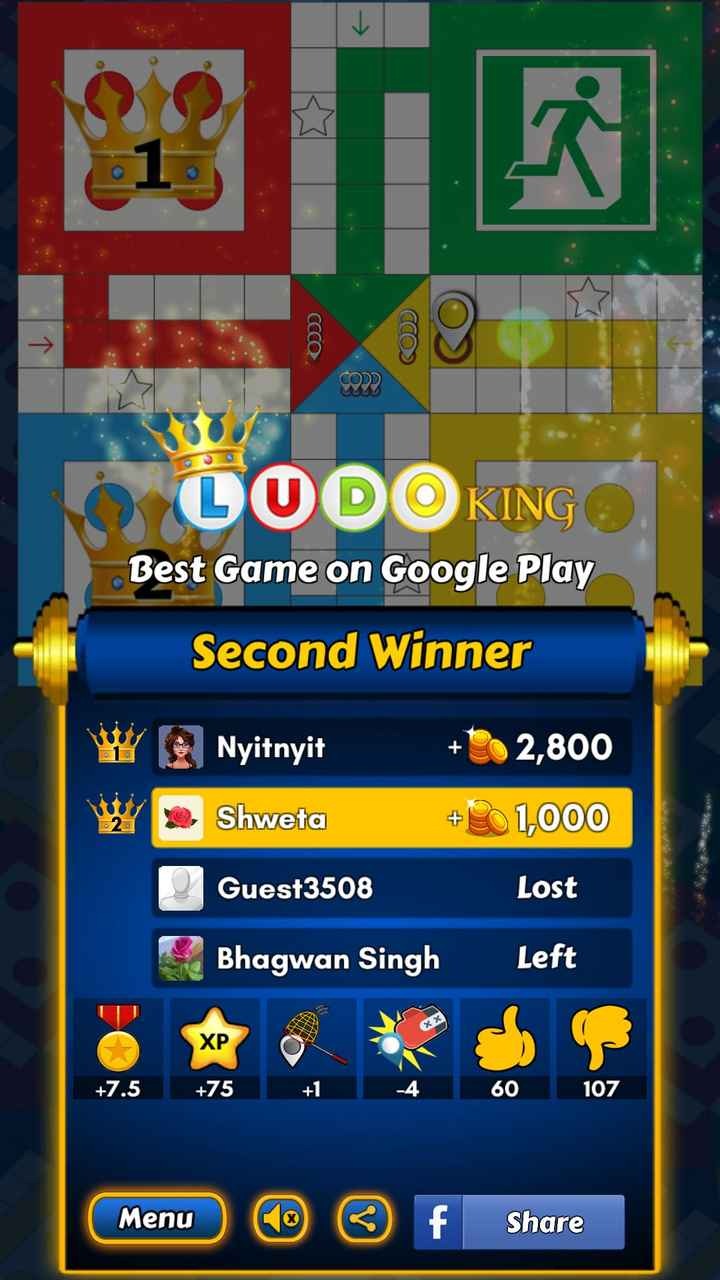 किड्स गेम - CCCO . DODOKING Best Game on Google Play Second Winner Nyitnyit _ + 2 , 800 2 . Shweta 1 , 000 Guest3508 Lost Bhagwan Singh Left XP + 7 . 5 + 75 + 60 107 Menu © f Share - ShareChat