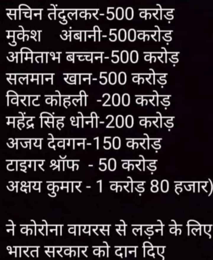 😳कोरोना: भारत में एक और मौत - सचिन तेंदुलकर - 500 करोड़ मुकेश अंबानी - 500करोड़ अमिताभ बच्चन - 500 करोड़ सलमान खान - 500 करोड़ विराट कोहली - 200 करोड़ महेंद्र सिंह धोनी - 200 करोड़ अजय देवगन - 150 करोड़ टाइगर श्रॉफ - 50 करोड़ अक्षय कुमार - 1 करोड़ 80 हजार ) ने कोरोना वायरस से लड़ने के लिए भारत सरकार को दान दिए - ShareChat