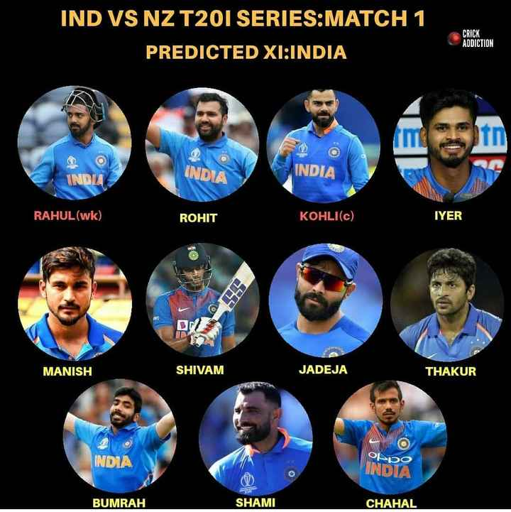 क्रिकेटप्रेमी के लिए - IND VS NZ T201 SERIES : MATCH 1 PREDICTED XI : INDIA CRICK ADDICTION INDIA INDIA IND RAHUL ( wk ) ROHIT KOHLI ( C ) IYER MANISH SHIVAM JADEJA THAKUR INDIA ܘܒܠܙܘ INDIA BUMRAH SHAMI CHAHAL - ShareChat