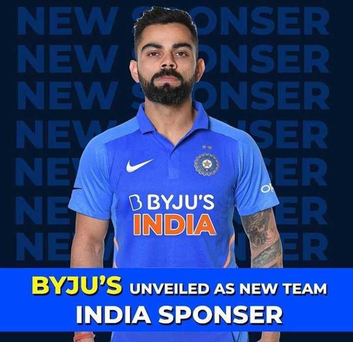 🏏क्रिकेट प्रेमी - NEW UNSER NEW CONSER NEW CONSER NEY NET NE INDIA NE SER VER O B BYJU ' S BYJU ' S UNVEILED AS NEW TEAM INDIA SPONSER - ShareChat
