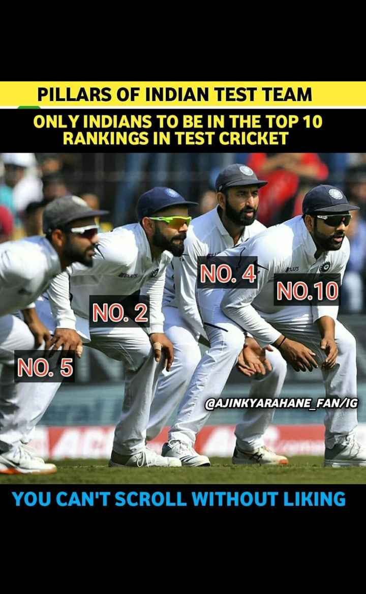 क्रिकेट......... - PILLARS OF INDIAN TEST TEAM ONLY INDIANS TO BE IN THE TOP 10 RANKINGS IN TEST CRICKET WS NO . 47 NO . 10 NO . 2 NO . 5 @ AJINKYARAHANE _ FAN / IG YOU CAN ' T SCROLL WITHOUT LIKING - ShareChat