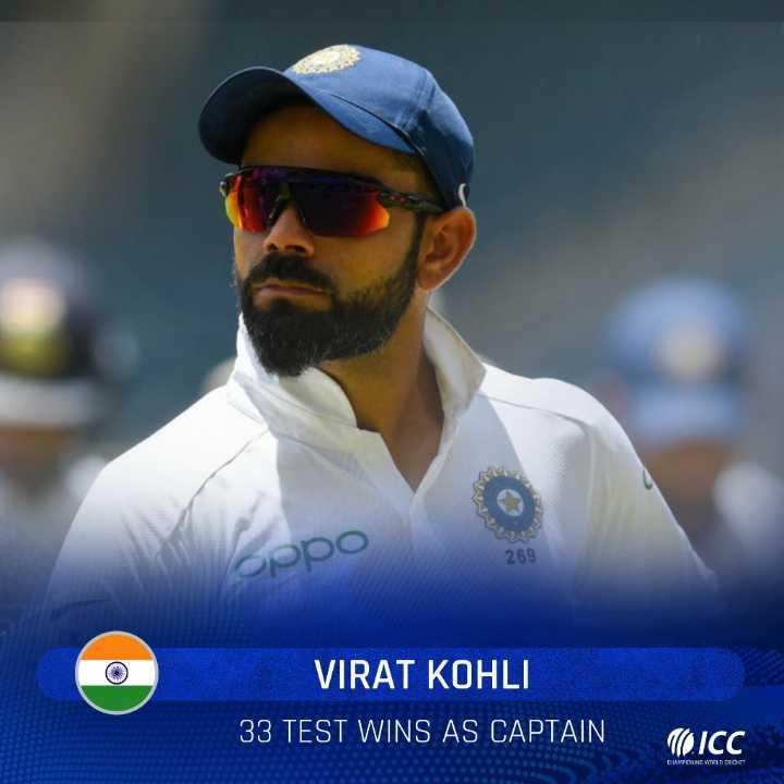 🏏 क्रिकेट LIVE - Oppo VIRAT KOHLI 33 TEST WINS AS CAPTAIN OICO DUMPENNE WELDOR - ShareChat