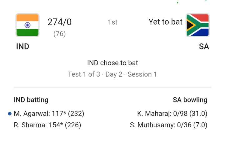 🏏 क्रिकेट LIVE - 1 st Yet to bat 274 / 0 ( 76 ) IND SA IND chose to bat Test 1 of 3 · Day 2 · Session 1 IND batting • M . Agarwal : 117 * ( 232 ) R . Sharma : 154 * ( 226 ) SA bowling K . Maharaj : 0 / 98 ( 31 . 0 ) S . Muthusamy : 0 / 36 ( 7 . 0 ) - ShareChat