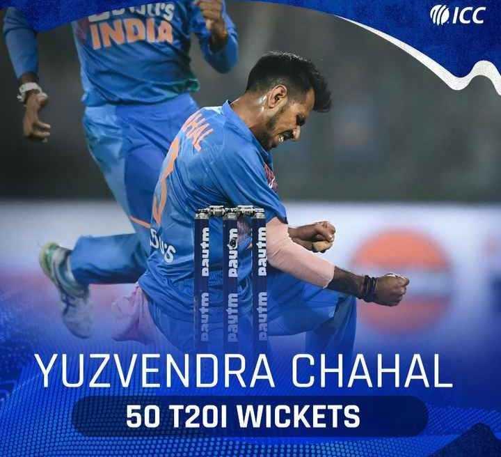 🏏 क्रिकेट LIVE - WLI ' S ( ICC INDIA யAnse Dautm paytm pauem mes pautm U > YUZVENDRA CHAHAL 50 T20I WICKETS - ShareChat