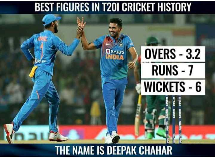 🏏 क्रिकेट LIVE - BEST FIGURES IN T20I CRICKET HISTORY BYJU ' S INDIA OVERS - 3 . 2 RUNS - 7 WICKETS - 6 Paytm Paytm Paytm paytm aum Pau . m Paytm Vaata THE NAME IS DEEPAK CHAHAR Pavim paytm Paytm ed - ShareChat