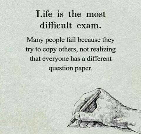 खाली प्लेट चैलेंज - Life is the most difficult exam . Many people fail because they try to copy others , not realizing that everyone has a different question paper . - ShareChat