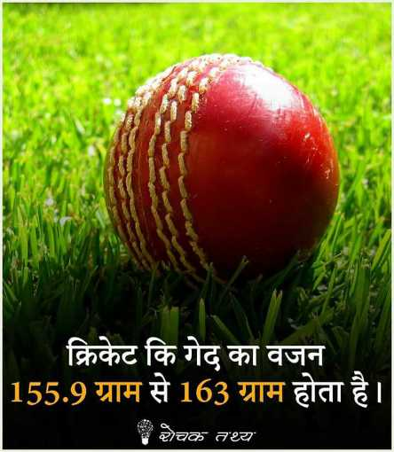 🎯 खेल जगत की खबरें - क्रिकेट कि गेद का वजन 155 . 9 ग्राम से 163 ग्राम होता है । रोचक तथ्य - ShareChat