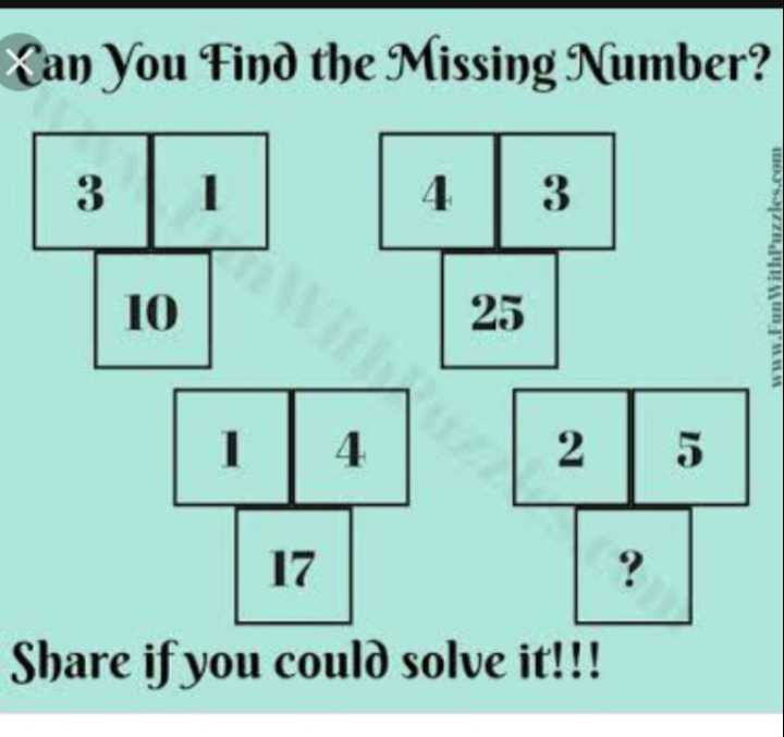 📚 गणित ज्ञान - Xan You Find the Missing Number ? 3 www . Fun With Puzzles . com e 1 Share if you could solve it ! ! ! - ShareChat
