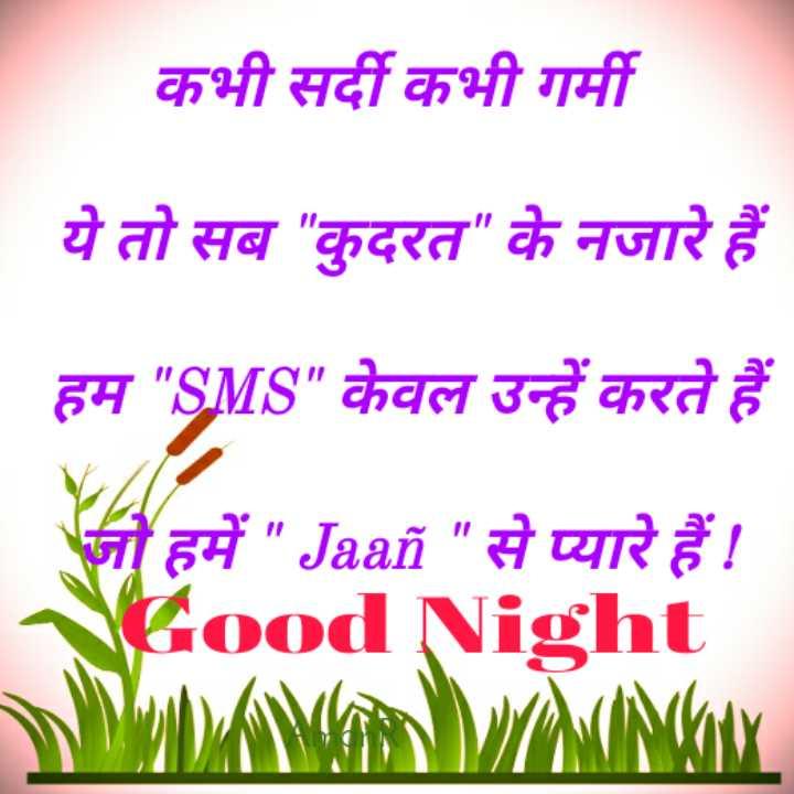 🌙 गुड नाईट - कभी सर्दी कभी गर्मी ये तो सब कुदरत के नजारे हैं हम SMS केवल उन्हें करते हैं जो हमें Jaan से प्यारे हैं ! Good Night - ShareChat