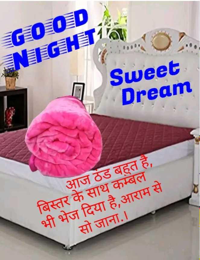 🌙 गुड नाईट - GOOD ENEFGHET Sweet Dream आज ठंड बहुत है , बिस्तर के साथ कम्बल भी भेज दिया है , आराम से सो जाना . । - ShareChat