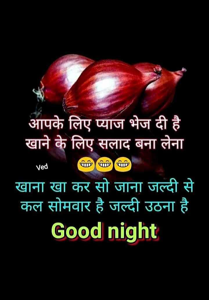 🌙 गुड नाईट - आपके लिए प्याज भेज दी है खाने के लिए सलाद बना लेना Ved 1 खाना खा कर सो जाना जल्दी से कल सोमवार है जल्दी उठना है Good night . - ShareChat