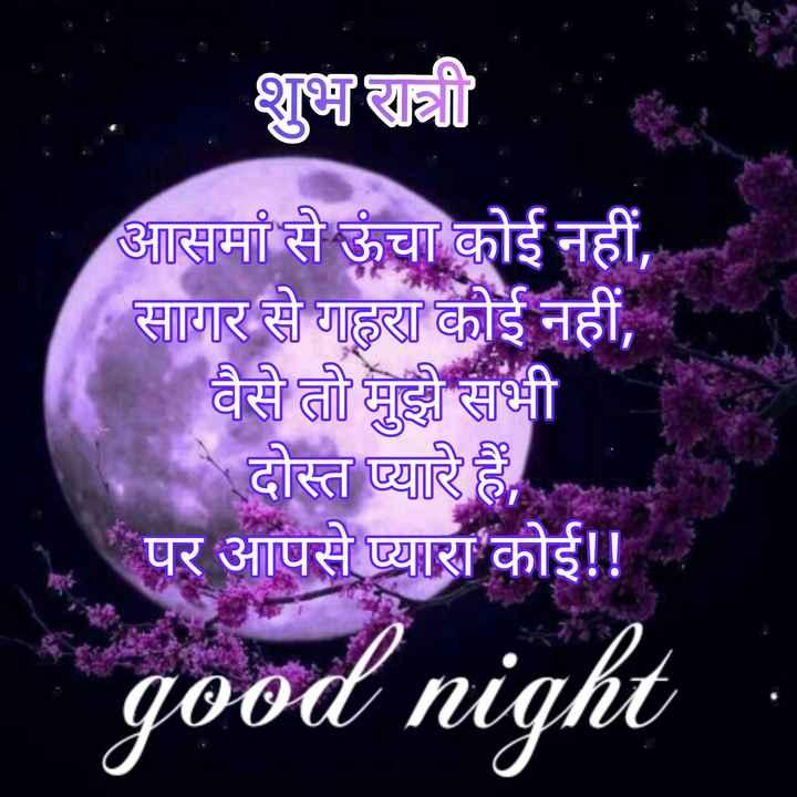 🌙 गुड नाईट - शुभ रात्री आसमां से ऊंचा कोई नहीं , सागर से गहरा कोई नहीं , वैसे तो मुझे सभी दोस्त प्यारे हैं , पर आपसे प्यारा कोई ! ! -   _ good night - ShareChat