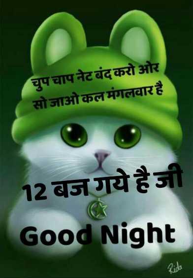 🌙 गुड नाईट - चुपचाप नेट बंद करो ओर सोजाओकल मंगलवार है 12 बज गये हैजी Good Night Kida - ShareChat