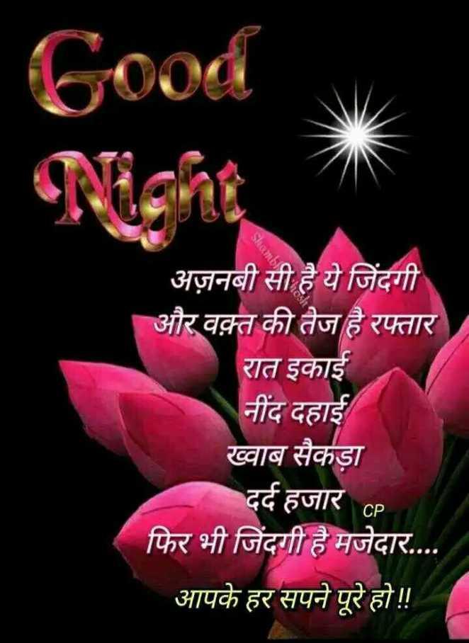 🌙 गुड नाईट - Good Night Shami अज़नबी सी है ये जिंदगी और वक़्त की तेज है रफ्तार रात इकाई नींद दहाई ख्वाब सैकड़ा दर्द हजार CP फिर भी जिंदगी है मजेदार . . . . आपके हर सपने पूरे हो ! ! - ShareChat