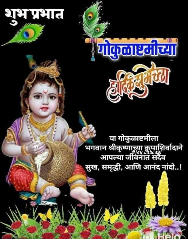 गोकुळ अष्टमी - शुभप्रभात : योकुळाष्टमीच्या या गोकुळाष्टमीला भगवान श्रीकृष्णाच्या कृपाशिर्वादाने _ _ आपल्या जीवनात सदैव । सुख , समृद्धी , आणि आनंद नांदो . . ! # jay Lalwani - ShareChat