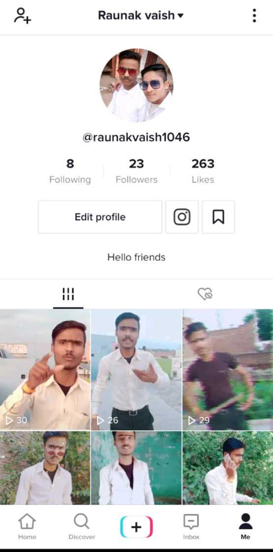 🔐 ग्रुप: कुछ सीख - at Raunak vaish @ raunakvaish1046 8 Following 23 Followers 263 Likes Edit profile Hello friends D 30 D 26 29 Home Discover Inbox - ShareChat