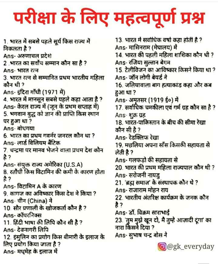 🔐 ग्रुप: 🏅जनरल नॉलेज 🏆 - परीक्षा के लिए महत्वपूर्ण प्रश्न 1 . भारत में सबसे पहले सूर्य किस राज्य में 13 . भारत में सर्वाधिक वर्षा कहा होती है ? निकलता है ? Ans - मासिनराम ( मेघालय ) में Ans - अरुणाचल प्रदेश 14 . भारत की पहली महिला शाशिका कौन थी ? 2 भारत का सर्वोच सम्मान कौन सा है ? Ans - रजिया सुल्तान बेगम Ans - भारत रत्न 15 . टेलीविजन का आविष्कार किसने किया था ? 3 . भारत रत्न से सम्मानित प्रथम भारतीय महिला । Ans - जॉन लोगी बेयर्ड ने कौन थी ? 16 . जलियावाला बाग हत्याकांड कहा और कब Ans . इंदिरा गाँधी ( 1971 में ) हुआ था ? 4 . भारत में मानसून सबसे पहले कहा आता है ? Ans - अमृतसर ( 1919 ई० ) में Ans - केरल राज्य में ( जून के प्रथम सप्ताह में ) 17 . सर्वाधिक चमकीला एवं गर्म ग्रह कोन सा है ? 5 . भगवान बुद्ध को ज्ञान की प्राप्ति किस स्थान Ans - शुक्र ग्रह पर हुआ था ? 18 . भारत - पाकिस्तान के बीच की सीमा रेखा Ans - बोधगया कौन सी है ? 6 . भारत का प्रथम गवर्नर जनरल कौन था ? Ans - रेडक्लिफ रेखा Ans - लार्ड विलियम बैंटिक 19 . मछलिया अपना साँस किसकी सहायता से 7 . चन्द्रमा पर मानव भेजने वाला प्रथम देश कौन लेती है ? Ans - गलफड़ो की सहायता से Ans - संयुक्त राज्य अमेरिका ( U . S . A ) 20 . भारत की प्रथम महिला राज्यपाल कौन थी ? B . रतौंधी किस विटामिन की कमी के कारण होता Ans - सरोजनी नायडु Ans - विटामिन A के कारण 21 . ' ब्रह्म समाज ' के संस्थापक कौन थे ? 9 . कागज का अविष्कार किस देश ने किया ? Ans - राजाराम मोहन राय Ans - चीन ( China ) ने 22 . भारतीय अंतरिक्ष कार्यक्रम के जनक कौन 10 सौर प्रणाली के खोजकर्ता कौन है ? Ans - कॉपरनिक्स Ans - डॉ . विक्रम साराभाई 11 . हिंदी भाषा की लिपि कौन सी है ? 23 . ' तुम मुझे खून दो , मै तुम्हे आज़ादी दूंगा ' का । Ans - देवनागरी लिपि नारा किसने दिया ? 12 . इंसुलिन का प्रयोग किस बीमारी के इलाज के Ans . सुभाष चन्द्र बोस ने लिए प्रयोग किया जाता है ? @ gk _ everyday Ans - मधुमेह के इलाज में - ShareChat