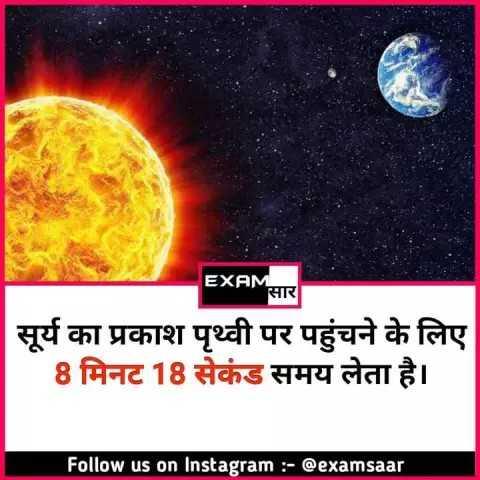 🔐 ग्रुप: 🏅जनरल नॉलेज 🏆 - EXAMसार सूर्य का प्रकाश पृथ्वी पर पहुंचने के लिए 8 मिनट 18 सेकंड समय लेता है । Follow us on Instagram : - @ examsaar - ShareChat