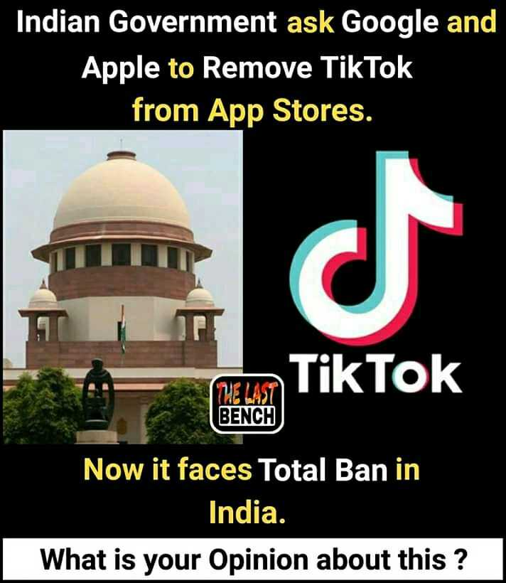 चायनीज़ ऐप Tiktok भारत में अवैध 🚫 - Indian Government ask Google and Apple to Remove from App Stores . BENCH nam . Tik Tok BENCH Now it faces Total Ban in India . What is your opinion about this ? - ShareChat