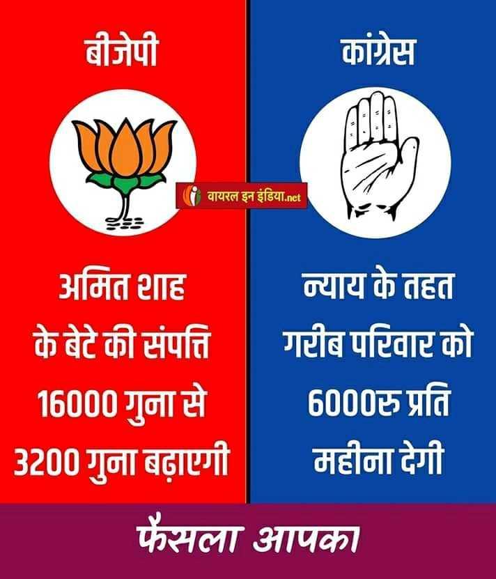 🗳 चुनावी गाने 🎶 - बीजेपी कांग्रेस | वायरल इन इंडिया . net अमित शाह न्याय के तहत के बेटे की संपत्ति गरीब परिवार को 16000 गुना से 6000रु प्रति 3200 गुना बढ़ाएगी महीना देगी फैसला आपका - ShareChat